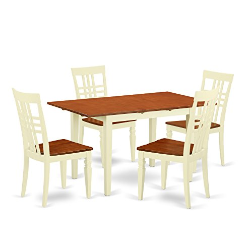 East West Furniture NFLG5-BMK-W 5 Piece Norfork Small Table and Four Wood Dining Chairs in Buttermilk & Cherry Finish