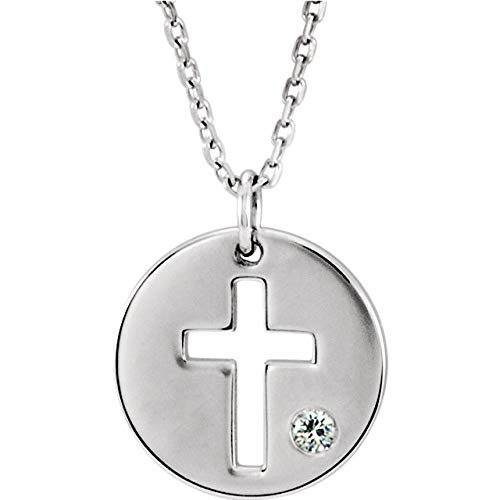 Sterling Silver .03 CTW Diamond Pierced Cross Disk Pendant 18