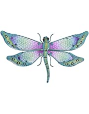 SOTALING Metal with Glass Handmade Dragonfly Design Wall Decor for Home, Patio, Porch, Bathroom,Living Room,Room,Girl lving Room