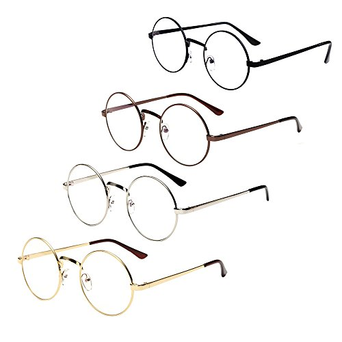 Littlegrass Round Circle Frame Vintage Large Clear Lens Glasses Metal Brown Black Silver Gold (4 - Round Large Glasses
