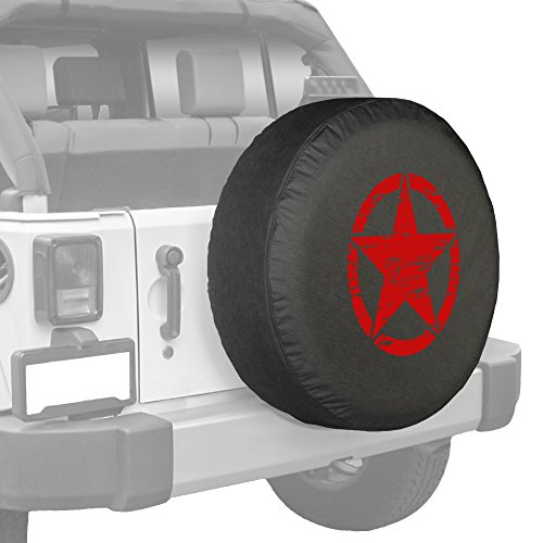 Red Oscar Mike Star Jeep Spare Tire Cover