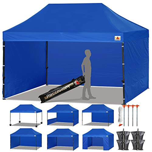 Adjustable Canopy Side Wall - ABCCANOPY (18+ Colors Deluxe 10x15 Pop up Canopy Outdoor Party Tent Commercial Gazebo with Enclosure Walls and Wheeled Carry Bag Bonus 4X Weight Bag and 2X Half Walls (Royal Blue)