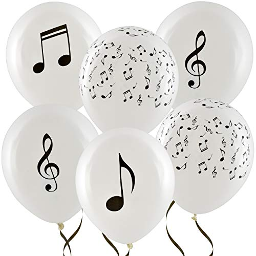 36 Musical Notes Balloons 12 Latex Music Balloon White with Black Balloon For Baby Shower & Kids Birthday Party Favor Supplies Decorations by Gift Boutique