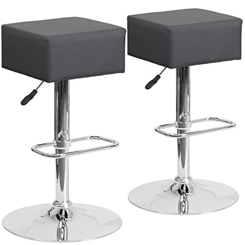 Flash Furniture 2 Pk. Contemporary Gray Vinyl Adjustable Height Barstool with Chrome Base - Backless Chrome Swivel Bar Stool