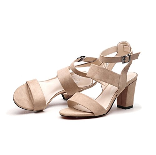 Shoes Heel In Brown Summer Open 39 Elegant Heels Toe Fashion High New Sandals Size Shoes Color Roman tw1tqWU74