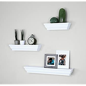 "Ballucci Victorian Wall Ledge and Shelf, 12"", 16"", 24"", Set of 3, White"