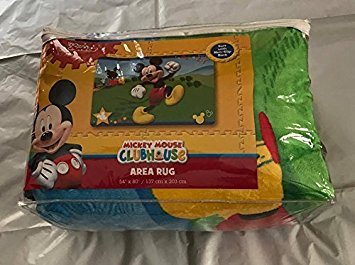 """Large Disney Rug in a Bag 54""""x80"""" Extra Soft Non-Slip Back Area Rug (Mickey Mouse Clubhouse)"""
