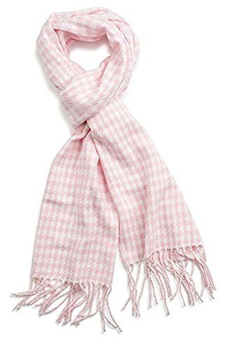 (Classic Luxurious Soft Cashmere Feel Unisex Winter Scarf in Checks and Plaid (Houndstooth Pink))