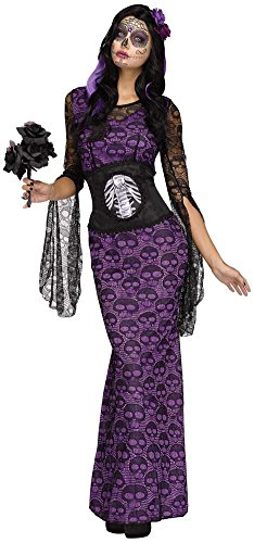 Fun World Women's La Muerte Costume, Multi, (Halloween Costumes 2016 Day Of The Dead)
