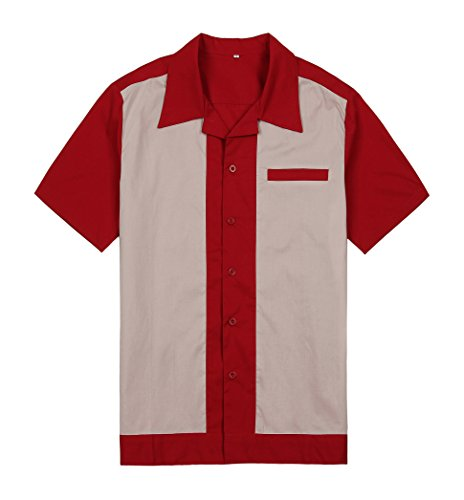 Anchor MSJ Men's 50s Male Clothing Rockabilly Style Casual Cotton Blouse Mens Fifties Bowling Dress Shirts (XL, Red)]()