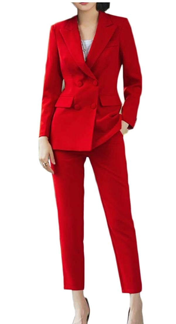 4 jxfd Womens Two Piece Outfits Solid Jacket Suit Bodycon Pants Sweatsuits