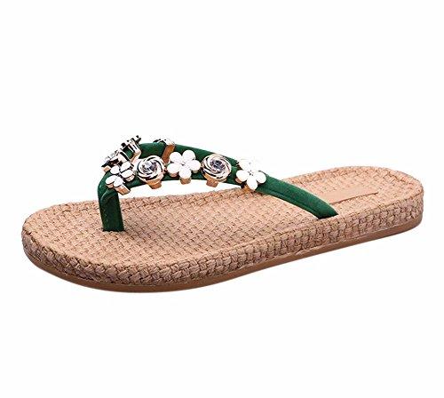 YUCH Zapatillas De Mujer Flores En Verano, Agua Y Calzado De Playa Wear-Resistant Taladro Green