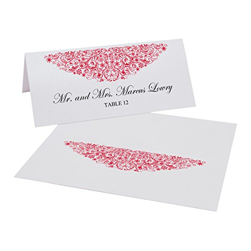 Vintage Snowflake Flourish Easy Print Place Cards, Pearl White, Ruby Red, Set of 500 (125 Sheets) by Documents and Designs