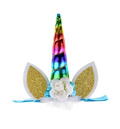 DDazzling Unicorn Headband Unicorn Birthday Rose Flower Headband Unicorn Party Unicorn Photo Props (Rainbow) by DDazzling (Image #3)