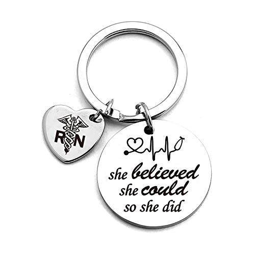 Nurse Graduation Keychain,She Believed She Could So She Did Stainless Steel Keychain Gifts,for Graduation Birthday Nurses Day Christmas,Perfect for Women Girls (Gift Ideas For Someone Graduating Nursing School)