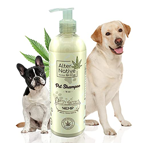 Alter Native Dogs Shampoo - Made from Organic Hemp Seeds Oil - Wonderful Pet Grooming Shampoo - Made in The USA - Oatmeal Scent - 16 oz