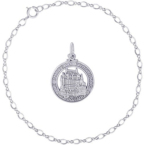 Rembrandt Charms Sterling Silver Chateau Frontenac Charm on a Classic Link Bracelet, 7