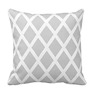 Light Gray and White Diamond Design Pillowcase Covers Decorative for Sofa 18x18 Inch Two Sides