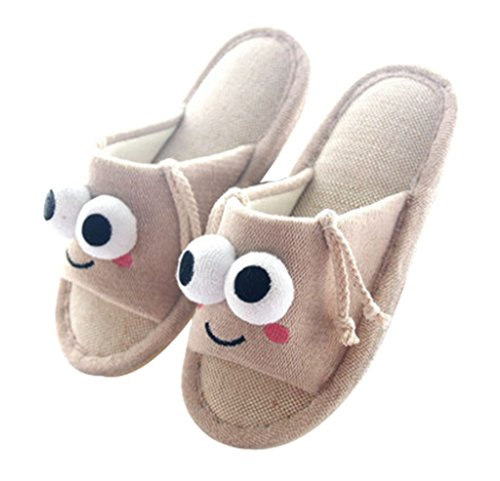 Cattior Mens Flax Open Toe Funny Slippers House Slippers Cream Color