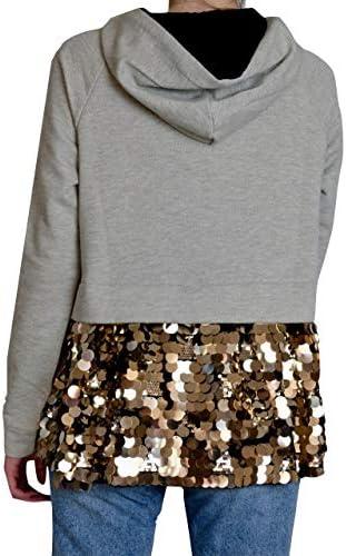 Fracomina Sweatshirt #lLove mit Pailletten, Modell F120W25005W01784 Farbe Grau