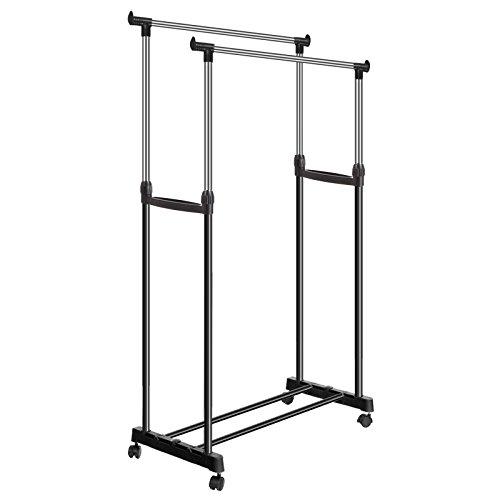 Skylin Double Rail Clothing Rack, Foldable Heavy Duty Adjust