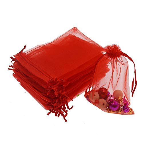 - Dealglad 50pcs Drawstring Organza Jewelry Candy Pouch Christmas Wedding Party Favor Gift Bags (3x4, Red)