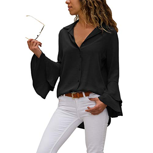 Larga Volante Tamaño Una Altavoz Sola Gran Manga Camisa Doble Black De Solapa Con Color Fila Botón Mujer Sólido Capa XqwZTxzO