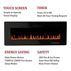 R.W.FLAME Recessed Electric Fireplace,Wall Mounted Linear Fireplace with Remote Control and Timer,Touch Screen,12 Flame Colors and Speed,1500W(Black) from R.W.FLAME