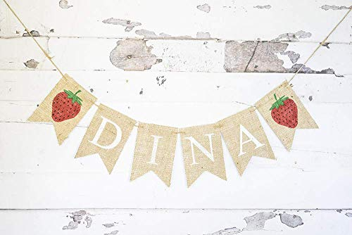Strawberry Personalized Banner for Summer Birthday Party or Baby Shower Decorations
