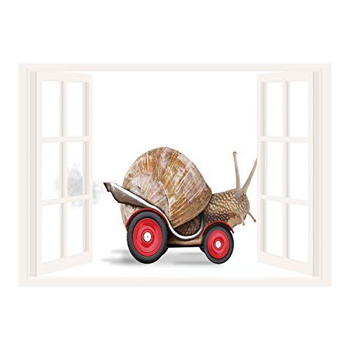 SCOCICI Wall Mural, Removable Sticker, Home Dcor/Funny,Speedy Snail Like Car Racer on Wheels Success Ambition Goal Creativity Concept Decorative,Umber Red White/Wall Sticker Mural