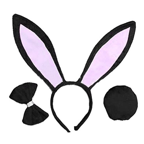 OPYUT Cute Rabbit Ears Tail and Bow Tie Suit-Black -