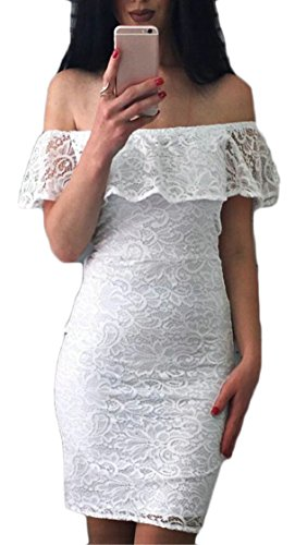 Shoulder Lace White Club Bodycon Dresses Mini Ruffles Women Sexy Off Jaycargogo wX1aqa
