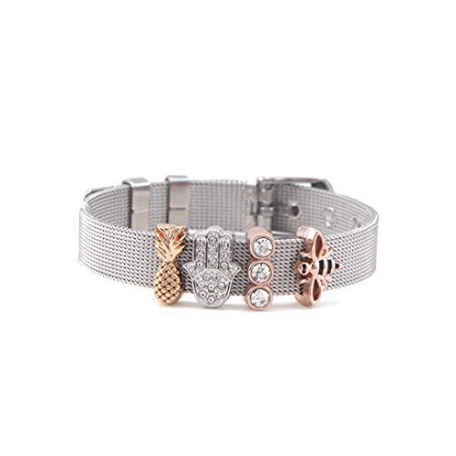 - WRABRA&LETS Jewelry Crystal Flower Slide Charms Keeper Bracelet Stainless Steel Mesh Bracelets Silver Set