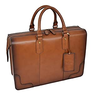 Leather Doctors Briefcase Zip Opening Vintage Style Carry Bag Stratford Tan