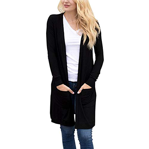 (GOVOW Lightweight Kimono Cardigan for Women Clearance Sale Long Sleeve Open Front Loose Pocket Causal)