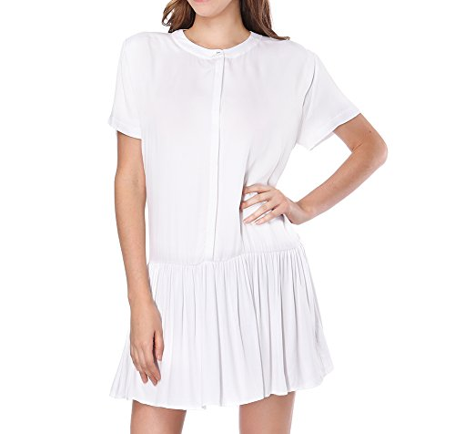 CIZITZZ Women's T-Shirt Loose Dress Short Sleeve Casual Summer Dress with Pleated M