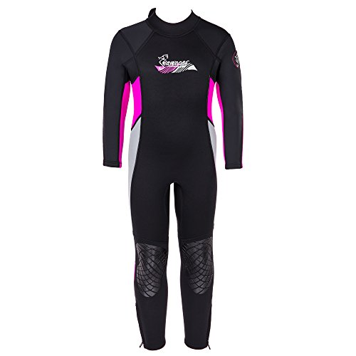 Girls Wetsuit (Seavenger 3mm Kids Full Body Wetsuit with Knee Pads for Surfing, Snorkeling, Swimming (Coral Pink, 6))