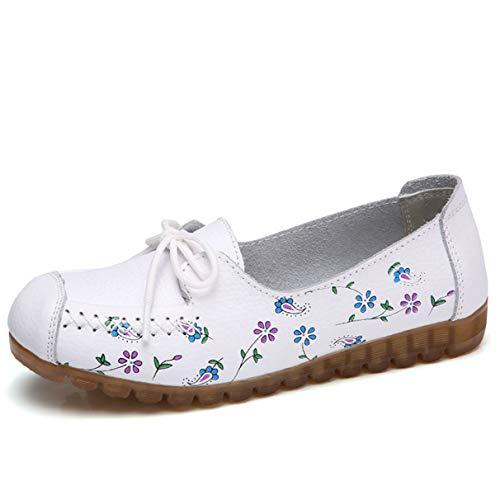 Chaussures Décontractés Doux Mocassins Blanc Femme Confortables pwrpqBU