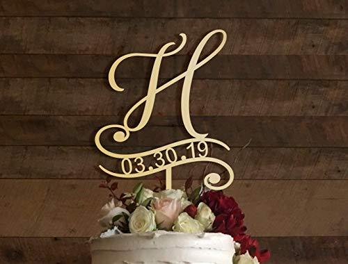 KISKISTONITE H Cake Topper, Wedding Cake Topper, Cake Toppers For Wedding, Rustic Cake Topper, Initial Cake Topper, Monogram Cake, Cake Topper H, Gold Party Supplies