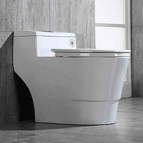 WOODBRIDGE T-0018/B-0735 Dual Flush Elongated One Piece Toilet with Soft Closing Seat, Comfort Height, White T-0018/B0735, Modern
