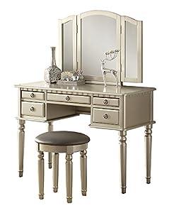 Amazon Com Poundex Bobkona St Croix 3 Fold Mirror Vantiy