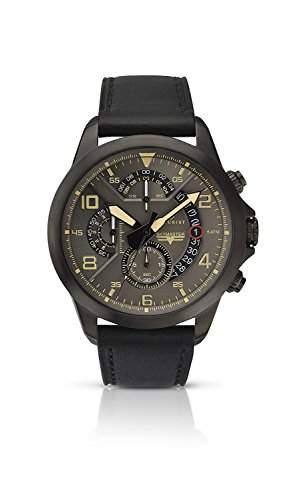 Accurist Men's Watch Grey Dial Chronograph Black Leather Strap 7054