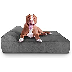 "Dogpatch Designs 8"" Orthopedic Foam Dog Bed W/ HeadRest - Pain-Relieving, 10-Year Guarantee - Highest-Rated Comfort For Any Size Dog - Easy To Clean (Gray, Large)"