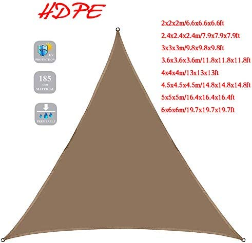 シェード セイル UVカット HDPE 日よけ シェード 三角形 軽量 簡単設置 日除けシェード 耐久性 風通しも良 モカ/レンガ色 2.4X2.4X2.4M 3.6X3.6X3.6M ベランダ/庭/アウトドア