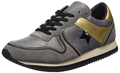 Hilfiger Denim Damen L1385agoon 1c2 Sneaker Grau (Steel Grey)