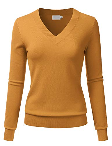 LALABEE Women's V-Neck Long Sleeve Soft Basic Pullover Knit Sweater Mustard - Ribbed Cap Striped