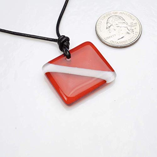 Scuba Diver Down Flag Necklace made of Fused Glass design By Zulasurfing