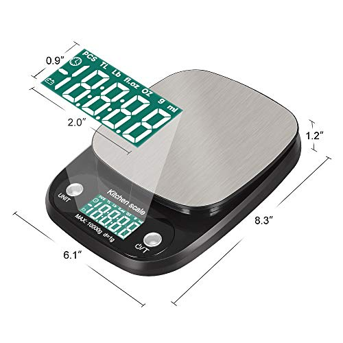 Hokyzam FR02 Digital Food Kitchen Scale, Stainless Steel Household 10kg Digital Electronic Kitchen Weight Scale with Tare & Auto Off Function food Measuring Tools Batteries Included