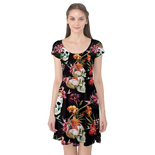 Cap Nice Dress Flowers Womens Pattern Skull Colorful Watercolor Sleeve OTqwpY