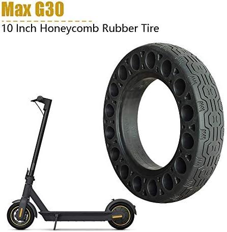 Haude Lot de 2 pneus en caoutchouc solide pour scooter électrique Ninebot Max G30 en nid d'abeille et amortisseur Noir 25,4 cm